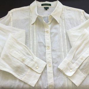 Lauren Ralph Lauren Shirt Women XL Linen Lagenlook